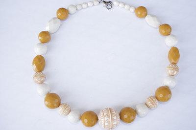 Collana perle panna e senape
