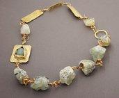 collana pietre naturali sassi grezzi prenite con filo di ottone cabochon avventurina regalo