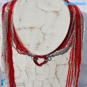 Collana Sciarpina Conteria Cuore Rosso in vetro di Murano fatto a mano