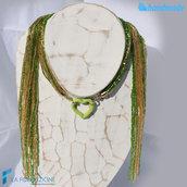 Collana Sciarpina Conteria Cuore Lime in vetro di Murano fatto a mano