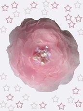 Fiore in organza rosa