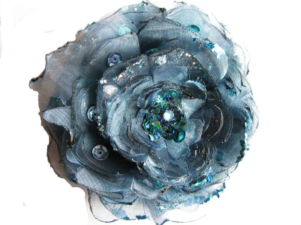 Fiore in organza color ottanio