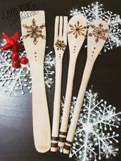 Sped gratuita- Mestoli legno incisi pirografati a mano- tema inverno, natale - ornamenti cucina chef