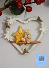 Cuore decorativo con stella e coniglio in porcellana fredda