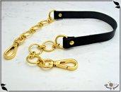 Manico in pelle nera,  vacchetta concia vegetale, mm.15, con catena ad anelli, finiture oro, ricambio borsa, cm.54