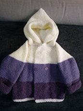 Cappotto bambino - cappotto bimbi unisex - cappotto bambino a maglia- golf bambina - cardigan unisex - cappotto a maglia panna lilla e viola