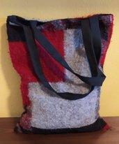 Borsa shopper in lana cotta foderata in cotone