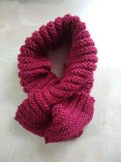 scaldacollo ai ferri rosso, collo in lana rossa, sciarpa corta donna, regalo natale fatto a mano, collo in lana