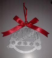 Pallina di Natale personalizzata con Presepe stilizzato. Taglio laser