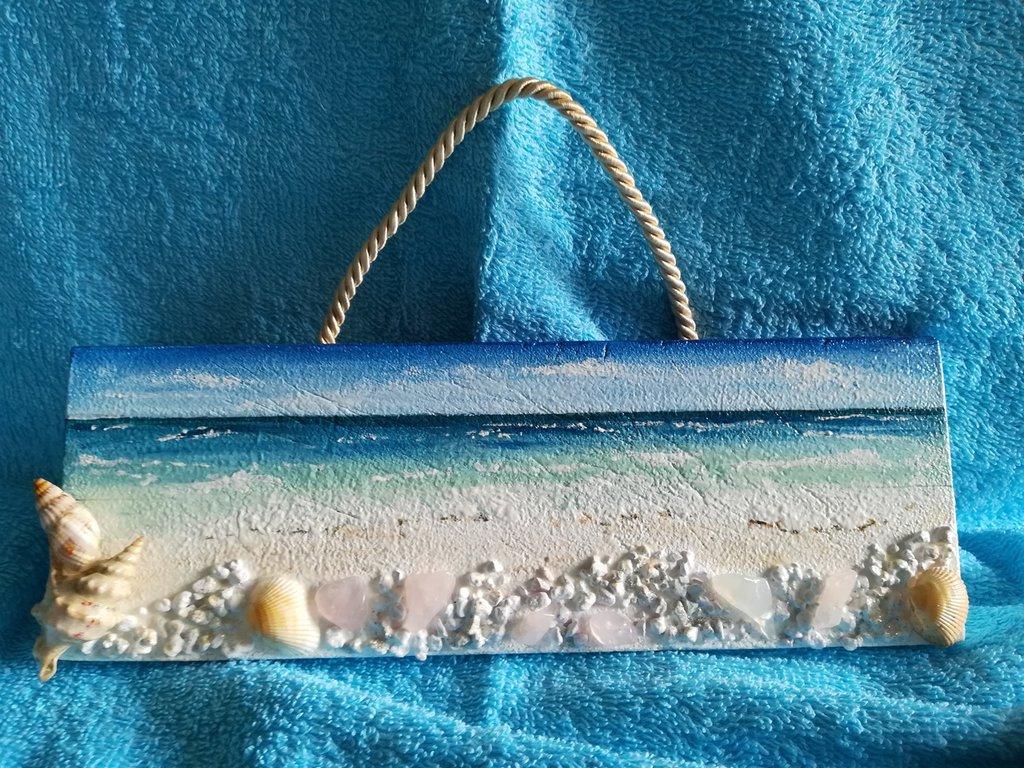 Spiaggia e mare, dipinto a mano