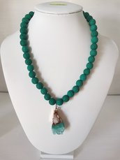 collana donna pietre di lava verdi