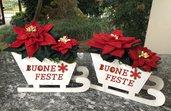 """Natale - Stella di natale su slitta """"buone feste"""""""