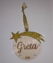 """Pallina di Natale """"Stella cometa"""" in legno con nome - taglio laser"""