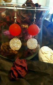 Orecchini handmade pendenti rossi con perla strass