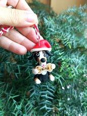 Decorazione natalizia personalizzata con cane bovaro del bernese con il nome sull'osso, addobbi per albero di natale con cane bovaro