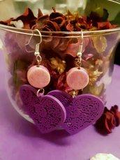 Orecchini handmade lilla con filigrana