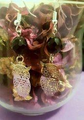 Orecchini handmade con filigrana di metallo-modello gufo