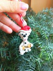 Decorazione natalizia personalizzata con cane dalmata con il nome sull'osso, addobbi per albero di natale con cane dalmata