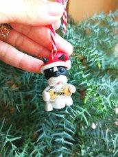 Decorazione natalizia personalizzata con cane bulldog francese con il nome sull'osso, addobbi per albero di natale con cane bulldog francese