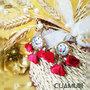 Orecchini tamburelli con pupi siciliani e nappine in raso rosso leggerissimi