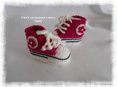 Scarpette neonata uncinetto lana