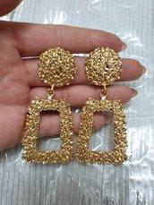 orecchini oro pendenti rettangolari