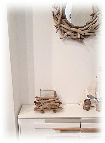 Vaso in vetro con legni di mare, regalo di natale