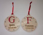 """Pallina di Natale """"Iniziale"""" in legno personalizzata - taglio laser"""
