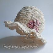 Cappello/cappellino bianco panna neonata/bambina - fiori rosa antico - Battesimo