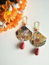 Klimt orecchini di carta pendenti con ciondolo a ventaglio e perla rossa a goccia