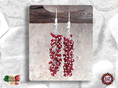Orecchino grappolo Vetro - Conteria: Rosso - Collezione Sera LuZ Italy