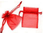 N. 10 sacchettini in organza trasparente rosso cm 7x9