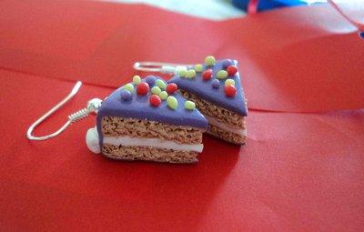 Orecchini fetta di torta e zuccherini