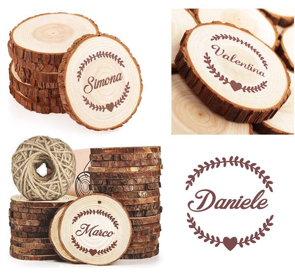 Tronchetto fetta di legno corteccia con nome personalizzato