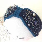 Cerchietto in Lana e Mussola di cotone con perle