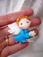 Angioletto angelo in volo segnaposto bomboniera regalo natale fimo