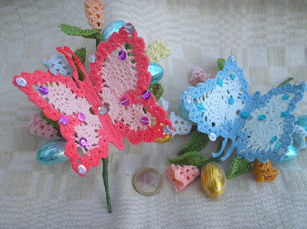 Eccezionale Farfalle ad uncinetto su rametto - Feste - Pasqua - di Marina Crea  CR33