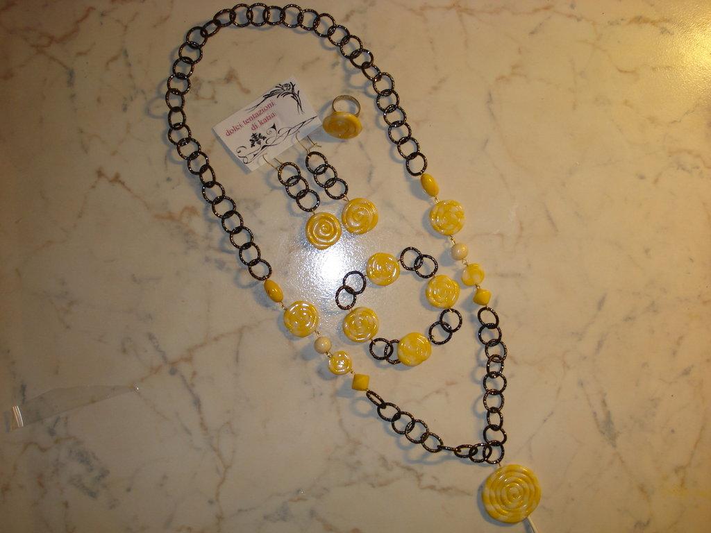 parure lollypop giallo bianco