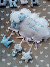 Fiocco nascita abbinato a banner nome tessuto.