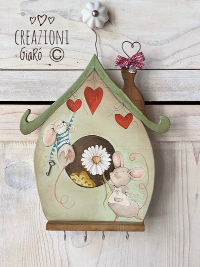 Portachiavi in legno dipinto a mano By Creazioni GiaRó Ⓒ