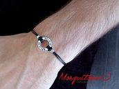 Bracciale uomo semplice in cordino di nylon nero con scritta credere, motivazione, fascino circolare, karma colore argento