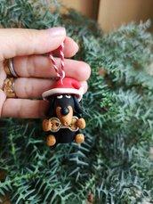 Decorazione natalizia personalizzata con bassotto con il nome sull'osso, addobbi per albero di natale come regalo famiglia