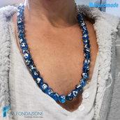 Collana perle maculé blu in vetro di Murano fatta a mano