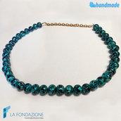 Collana perle maculé verde acqua in vetro di Murano fatta a mano