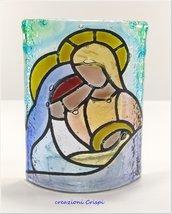Porta candela Sacra Famiglia, vetrofusione decorato a mano - misura media
