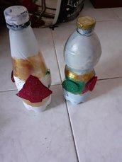 """Bottiglie  Natalizie con """"Albero e palline"""""""
