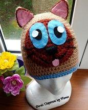 Cappello ad uncinetto, in lana, a forma di gatto