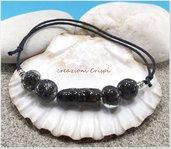 Bracciale perle al lume, fatto a mano, pietra lavica e vetro fusi insieme