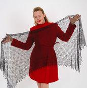velo di lana nera, scialle sottile, scialle, scielle di lana, scialle caldo, aggiornato, mantellina, lana di capra, colore nero, sciarpa, un regalo per lei