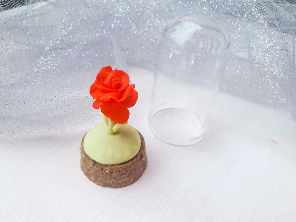 bomboniere rosa incantata, Cake topper compleanno, cake topper rosa rossa, cake topper matrimonio, bomboniere, bomboniera, bomboniere comunione, cake topper compleanno fimo,